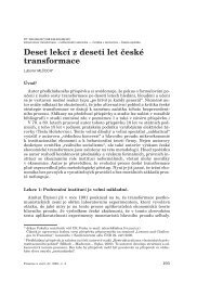 Deset lekcí z deseti let ãeské transformace - Czech Journal of ...