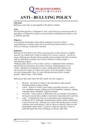 ANTI - BULLYING POLICY - The Queen's School