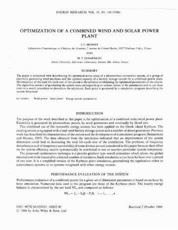 optimization of a combined wind and solar power plant - LSIS