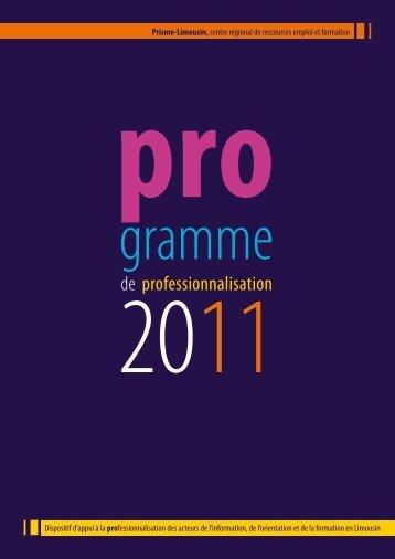 programme régional de professionnalisation