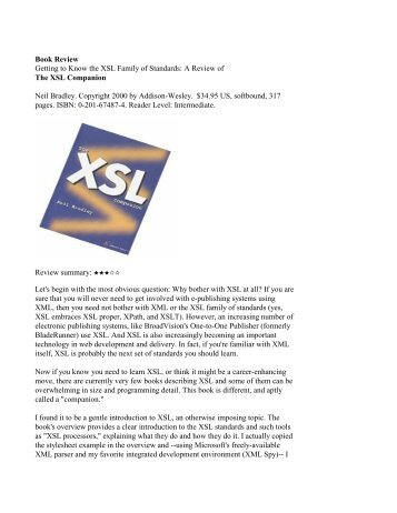 Book Review of The XSL Companion - My-Words