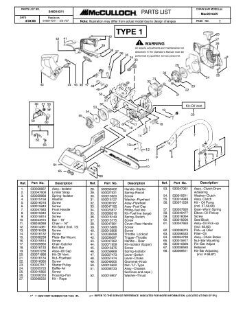 McCulloch MAC CAT 2.3ci (38cc) Parts List 223344-01