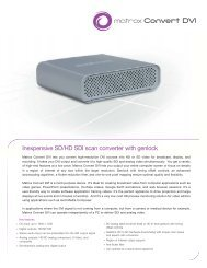 Inexpensive SD/HD SDI scan converter with genlock - Visual Impact ...