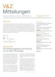 V&Z Mitteilungen Ausgabe 4-5/2011 - V&Z Audit et Conseil