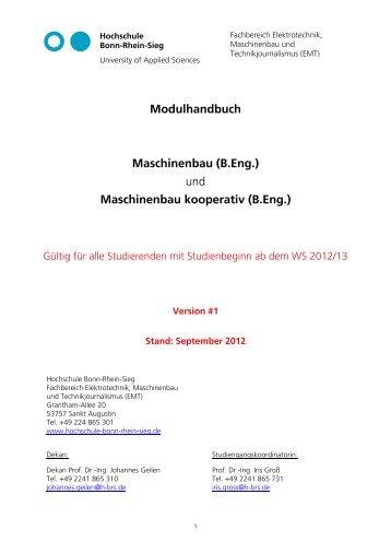 Modulhandbuch Maschinenbau (B.Eng.) - Fachbereich ...