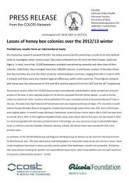 Losses of honey bee colonies over the 2012/13 winter - STEP Project