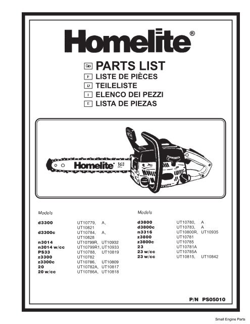 Homelite Chainsaw Parts List 05010 - Barrett Small Engine