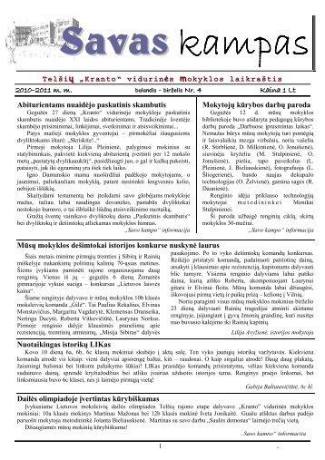 """""""Savo kampo"""" numeris - Telšių """"Kranto"""" pagrindinė mokykla"""