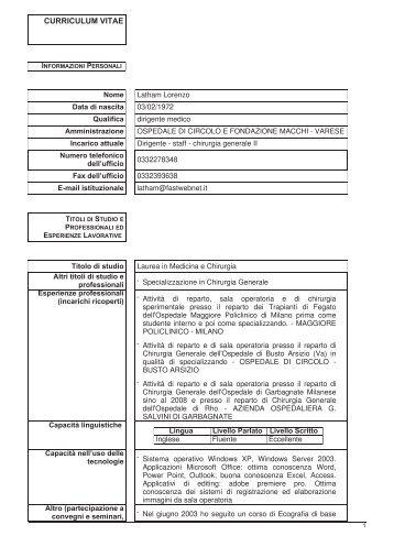 Latham Lorenzo - Ospedale di Circolo e Fondazione Macchi