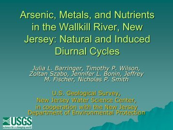 Arsenic, Metals and Nutrients in the Wallkill River, New Jersey