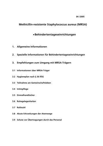 Methicillin-resistente Staphylococcus aureus (MRSA ...