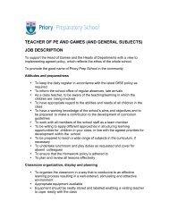 job description - Priory Preparatory School