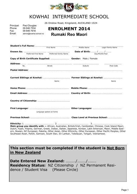 2014 Rumaki Enrolment Form - Kowhai Intermediate School