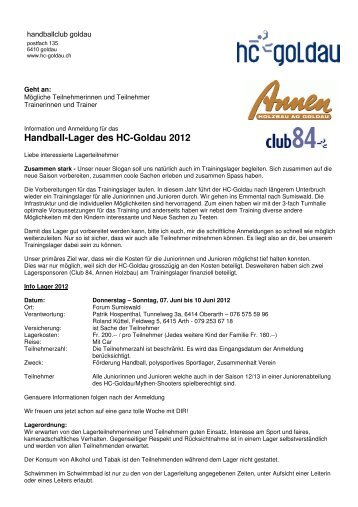 Handball-Lager des HC-Goldau 2012 - Handballclub Goldau