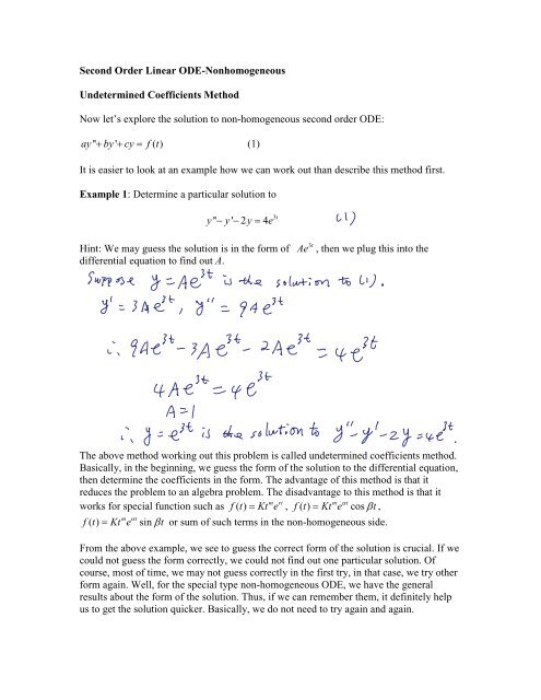 Second Order Differential Equation III: Non-Homogeneous