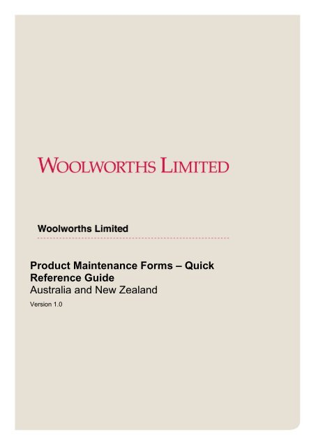Product Maintenance Forms - Countdown