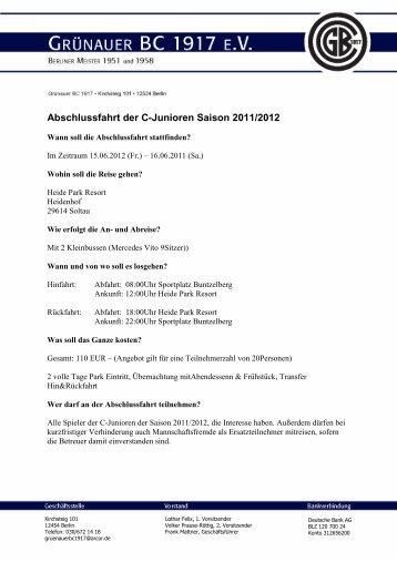 Abschlussfahrt der C-Junioren Saison 2011/2012 - Grünauer BC 1917