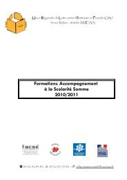 Formations Accompagnement à la Scolarité Somme 2010/2011 - urlip