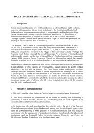 Policy on Gender Sensitization against Sexual Harassment