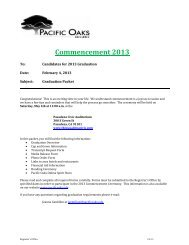 Pasadena Commencement Information Packet - Pacific Oaks College