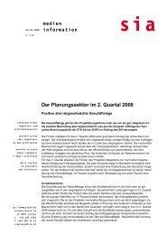 Der Planungssektor im 2. Quartal 2008 medien information