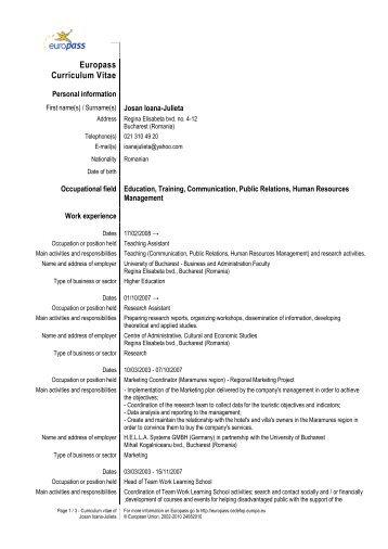 ionescu eduard cv europass engleza aprilie 2013