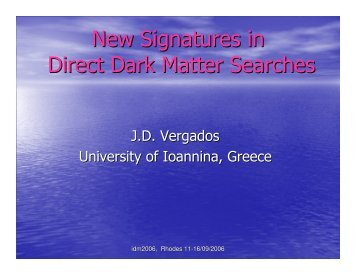 New Signatures in Direct Dark Matter Searches