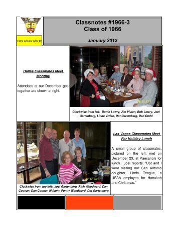 Classnotes #1966-3 Class of 1966 January 2012 - West Point Class ...