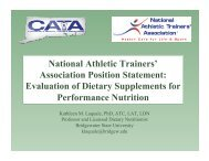 Evaluation of Dietary Supplements for Performance Nutrition - The ...
