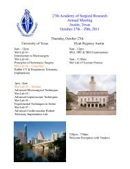 27th Academy of Surgical Research Annual Meeting Austin, Texas ...