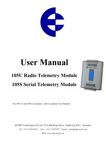 Radio Telemetry (Wireless I/O), Tabateq Catalogue, User Manual ...