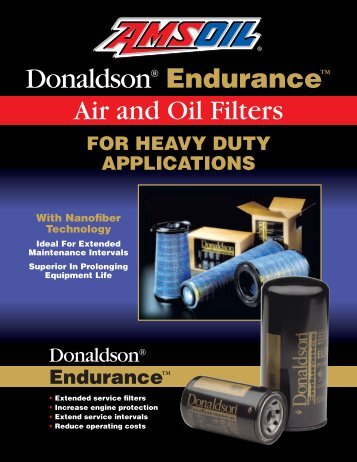 Donaldson® Endurance™ air and oil filters - 1stsyntheticoiltech.com ...