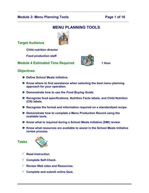 Menu Planning Tools - Nutrition, Food Science, and Packaging