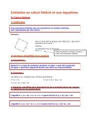 5e - Initiation au calcul littéral et aux équations - Parfenoff . org