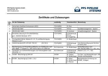 Zertifikate und Zulassungen - PPS Pipeline Systems GmbH