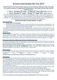 Kowhai Intermediate Ski Trip 2013 - Kowhai Intermediate School