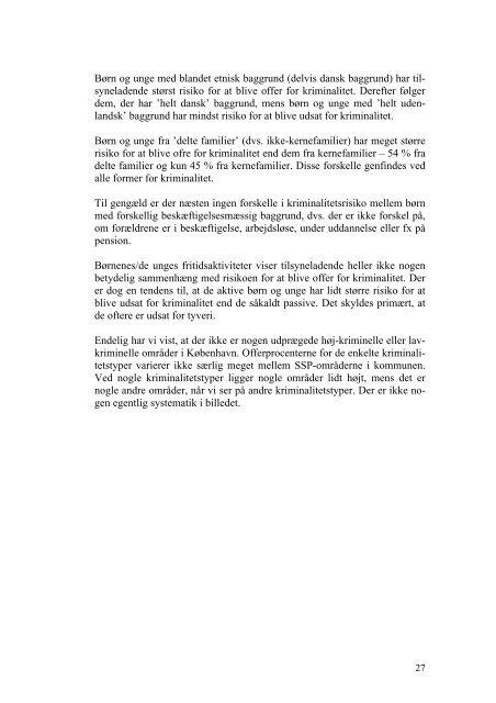 Kriminalitet blandt børn og unge i Københavns Kommune - en ...