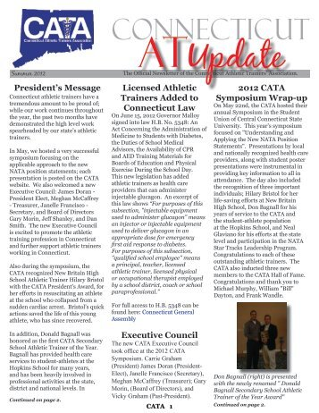 2012 Summer Newsletter - The Connecticut Athletic Trainers ...