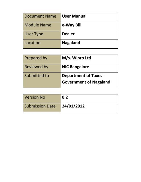 User Manual On E Way Bill Module Dept Of Value Added Tax