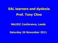EAL learners and dyslexia - NALDIC