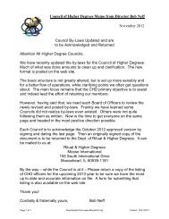 Council of Higher Degrees Memo from Director Bob Neff October ...