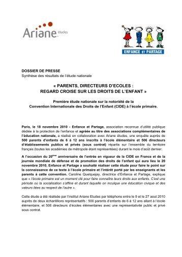 DP Etude droits de l'enfant ecole primaire - Enfance et Partage