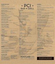 PCI Bar & Grill Lunch Menu - Postcard Inn on the Beach
