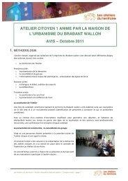 Atelier citoyen 1 animé par la maison de l'urbanisme du Brabant ...