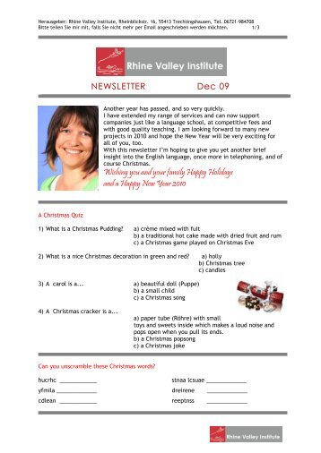 NEWSLETTER Dec 09 Wishing you and your family Happy Holidays ...