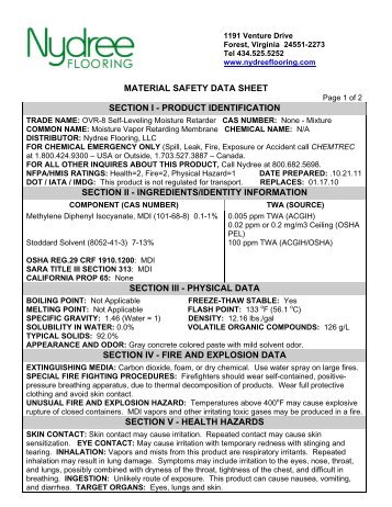 material safety data sheet section i - product ... - Nydree Flooring