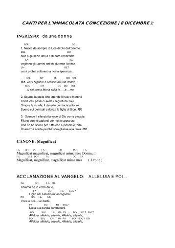canti per l'immacolata concezione ( 8 dicembre ) - Parrocchia di S ...
