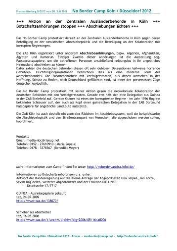 Pressemitteilung No Boder Camp Köln No.8 - No Border Camp