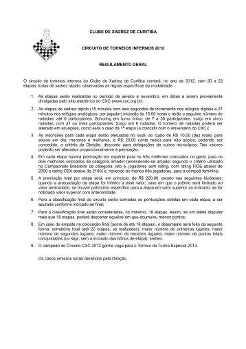 Regulamento do Circuito CXC - Clube de Xadrez de Curitiba
