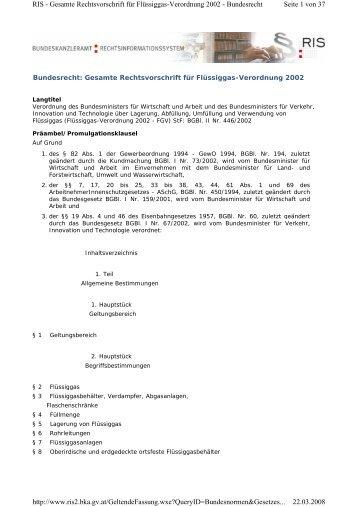 Seite 1 von 37 RIS - Gesamte Rechtsvorschrift für Flüssiggas ...